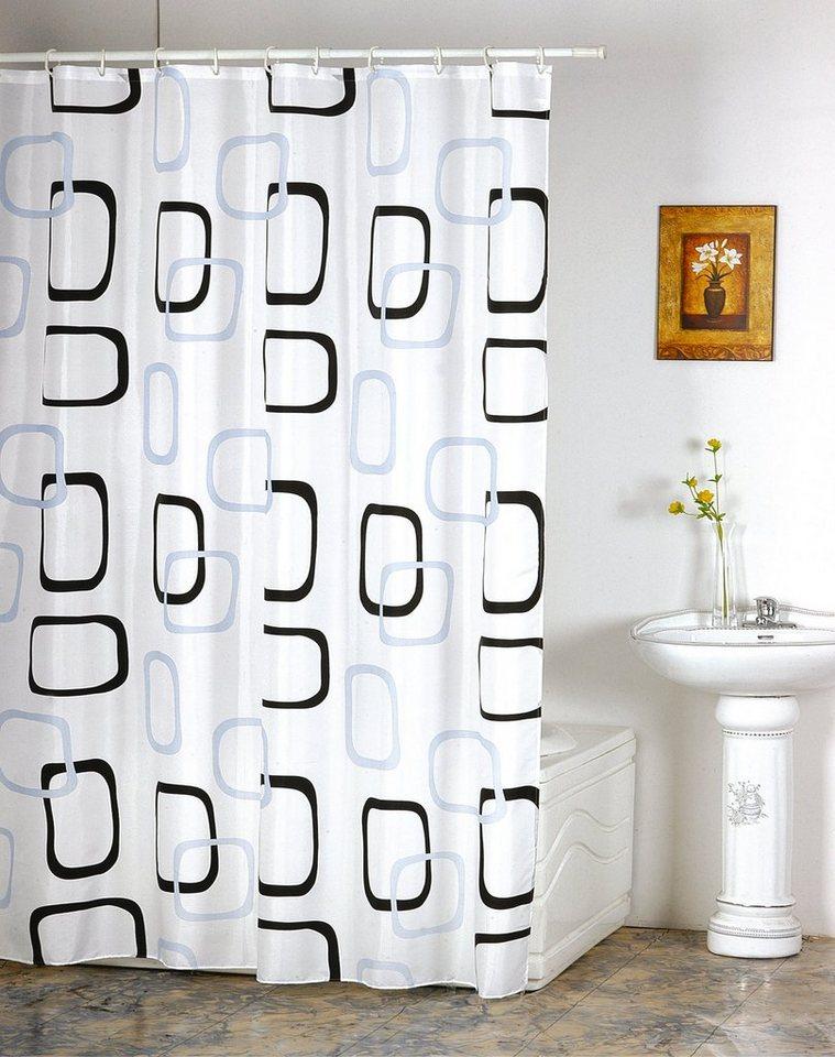 MSV Duschvorhang in weiß/schwarz
