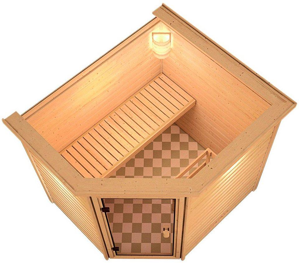 Sauna »Ellen«, 196/170/187cm, 38mm, 7,5-KW-Ofen ext. Steuerung in natur