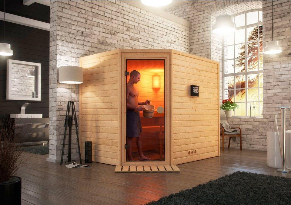 Sauna »Leah«, 231/196/187cm, 38mm, 7,5-KW-Ofen ext. Steuerung in natur