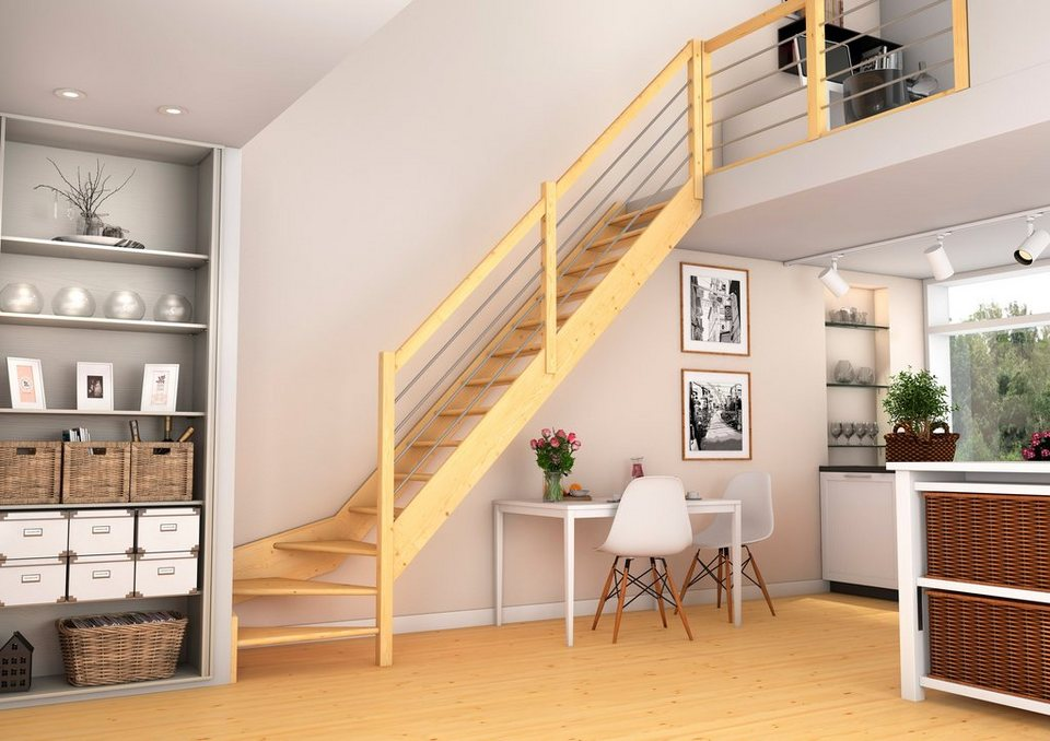 raumspartreppe paris 1 4 gewendelt unten rechts mit geschlossenen setzstufen fichtenholz. Black Bedroom Furniture Sets. Home Design Ideas