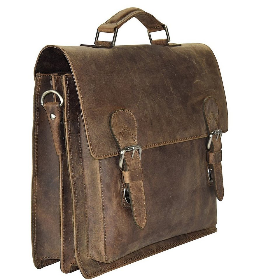 Harold's Antik Casual Aktentasche Leder 40 cm Laptopfach in natur