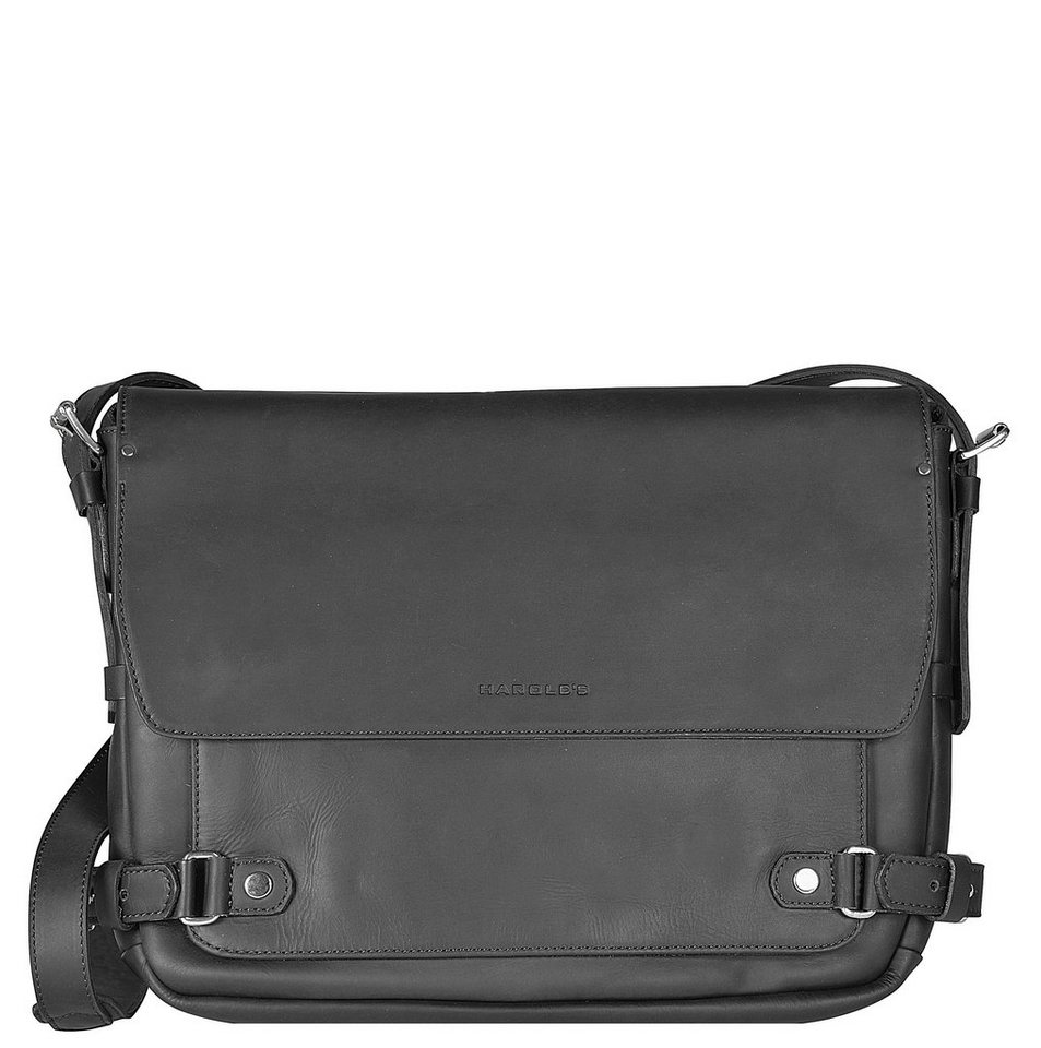 Harold's Ivy Court Messenger Leder 37cm Laptopfach in schwarz