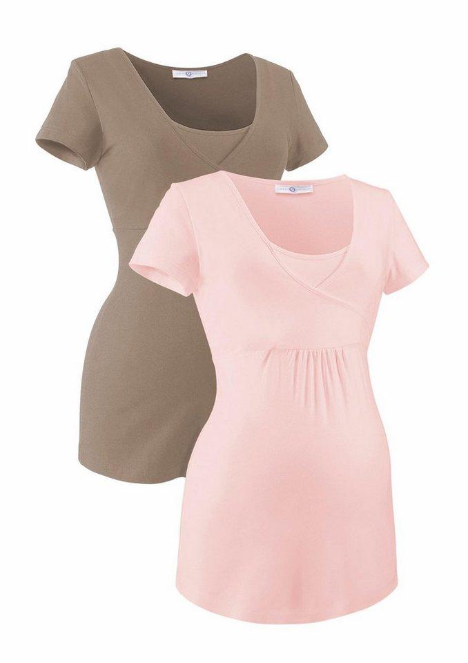 Neun Monate Umstandsshirt mit Stillfunktion (Packung, 2 tlg.) in rosa-taupe