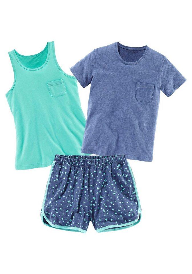 Buffalo Pyjama-Set (3-tlg.) in mint-blau meliert