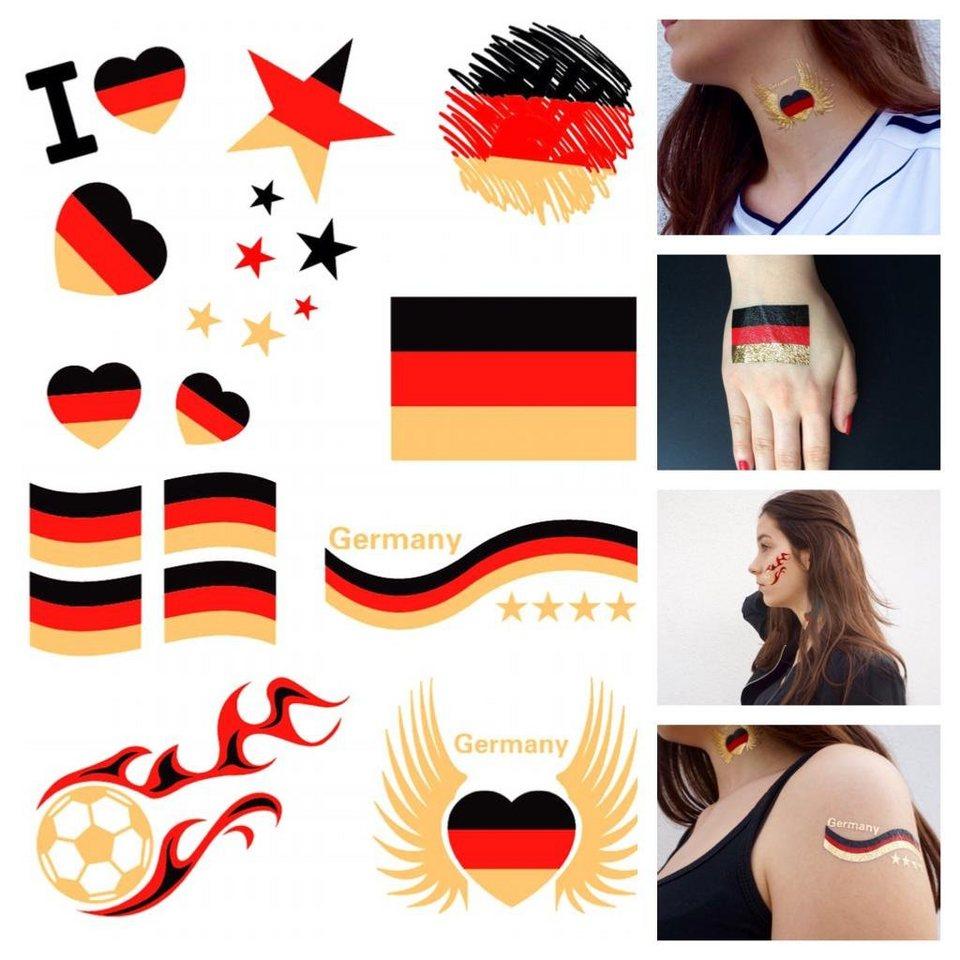Schmuck-Tattoos, »Deutschland«, Tattoos zum Aufkleben für die Fußball-EM 2016 in Schwarz/Rot/Gold