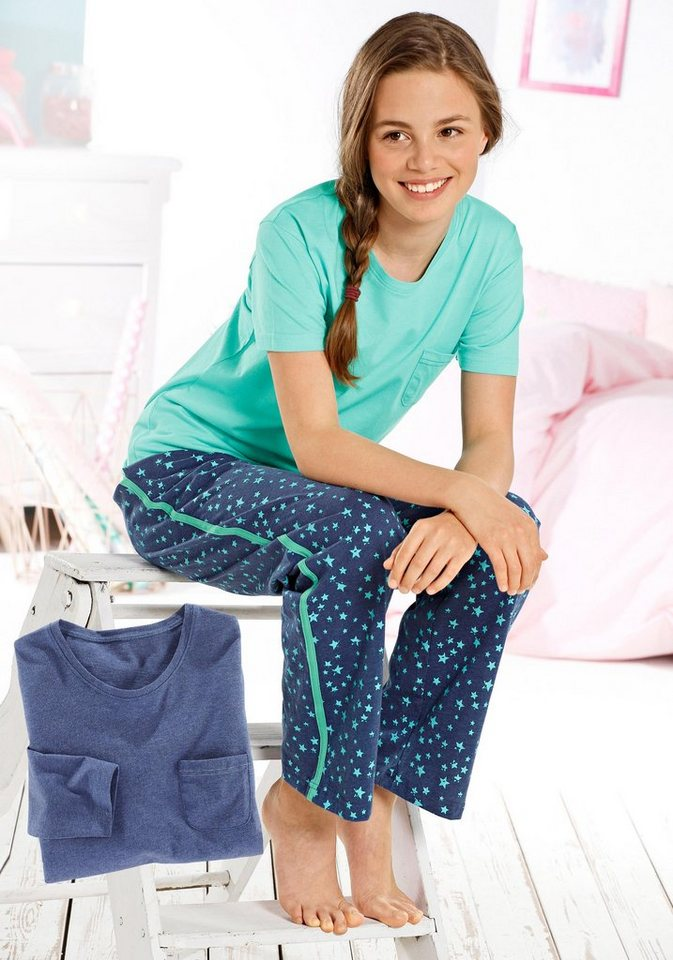Buffalo Pyjama-Set (3-tlg.) in mint-blau meliert