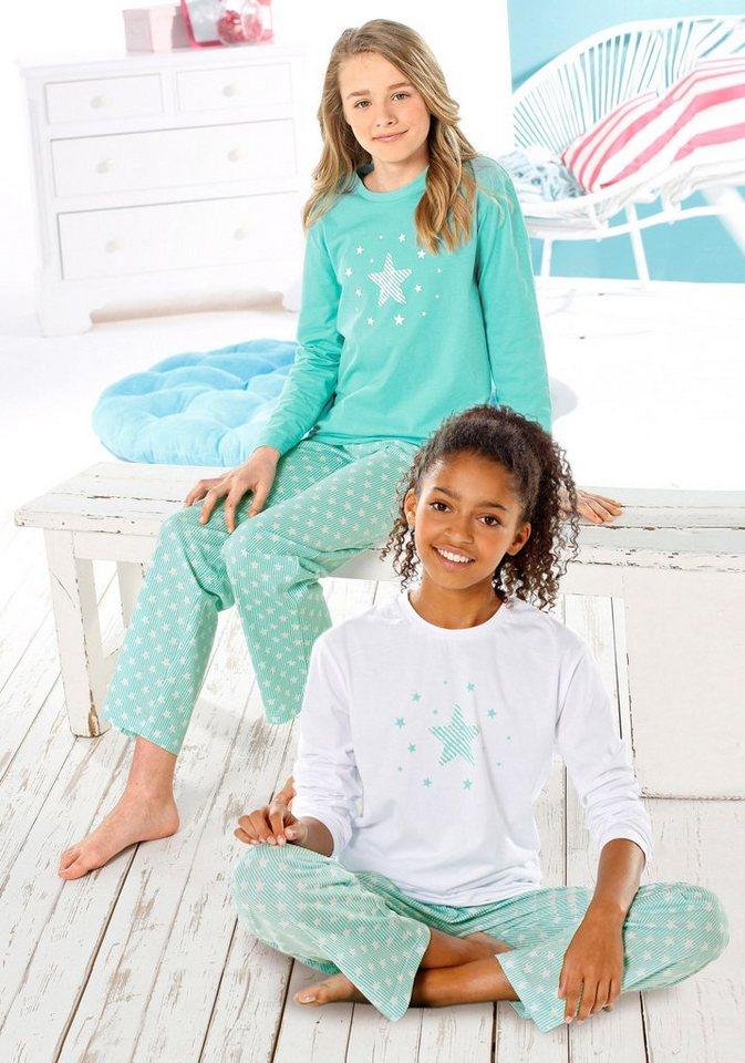 Petite Fleur Pyjama in weiß + mint