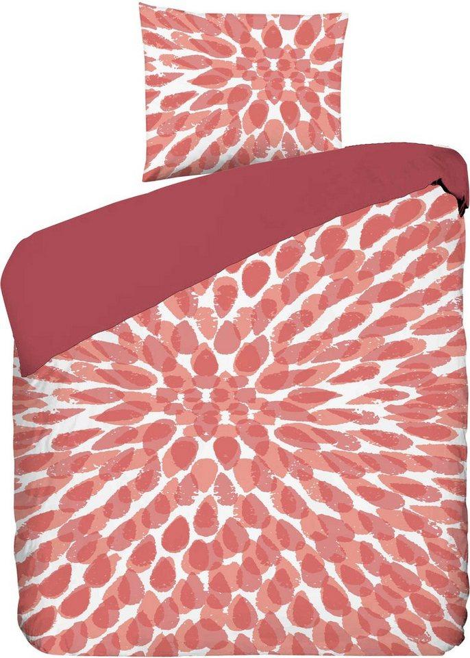 Wendebettwäsche, Schöner Wohnen, »Sol«, mit Tropfen in rot-orange