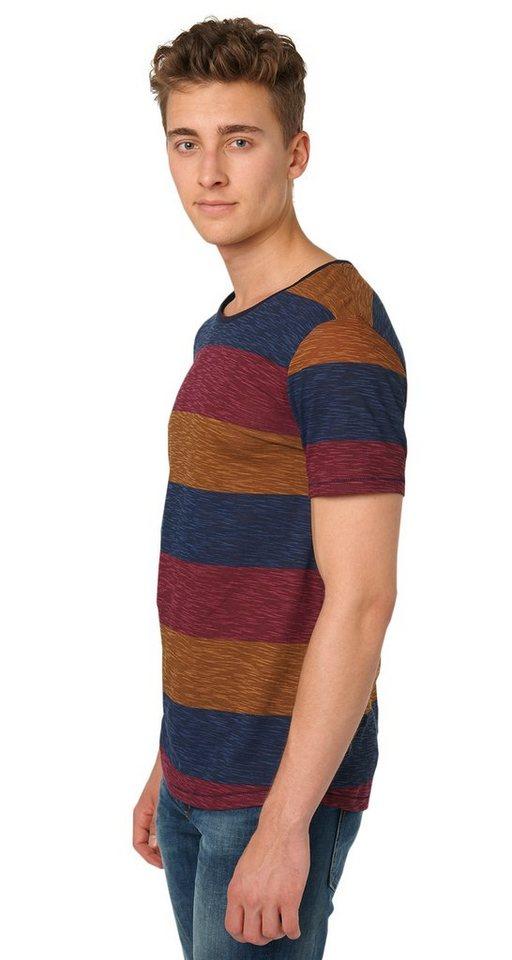 TOM TAILOR DENIM T-Shirt »gestreiftes T-Shirt« in rich cinnamon