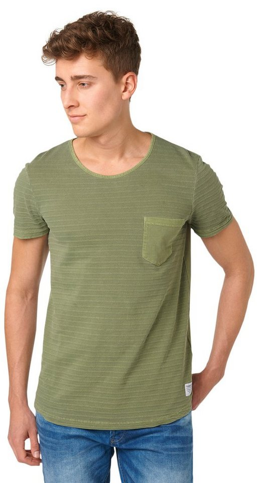 TOM TAILOR DENIM T-Shirt »stripe structured tee« in greyish green