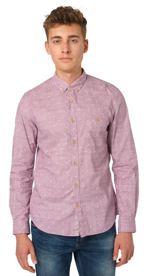 TOM TAILOR DENIM Hemd »printed shirt w. button down« in dusty orchid mauve