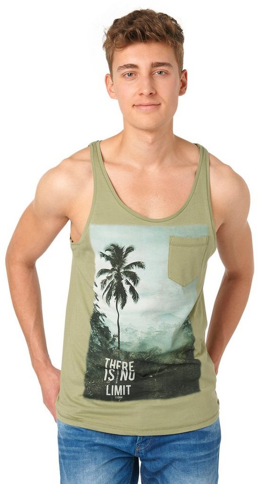 TOM TAILOR DENIM T-Shirt »tank with placed print« in greyish green