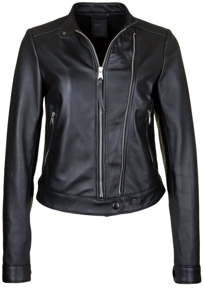 REPLAY Lederjacke »MIT DOOPELTEM REISSVERSCHLUSS« in black