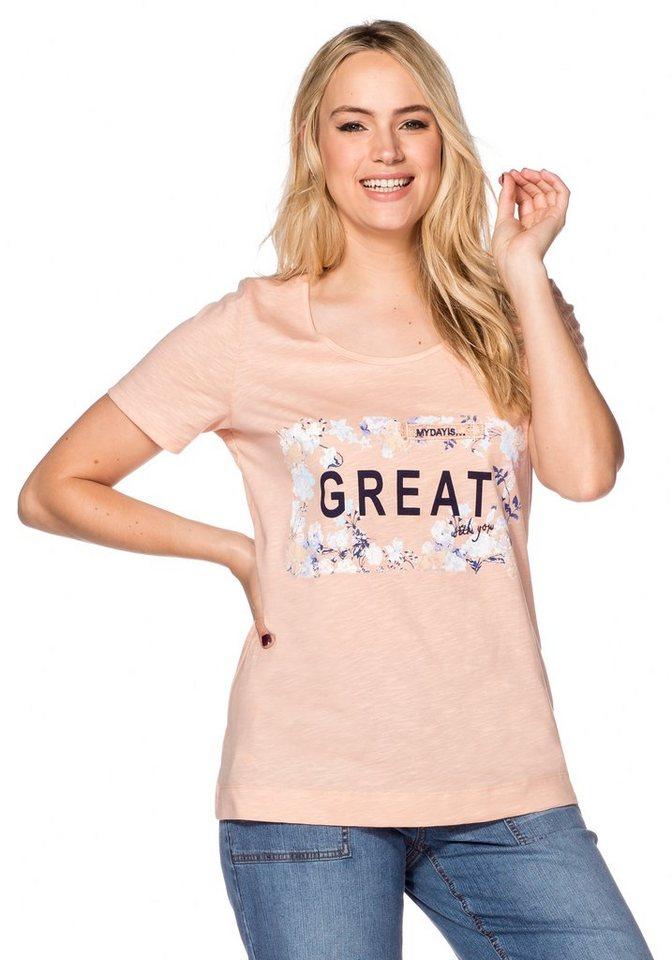 sheego Trend Shirt mit Blumendruck in rosé