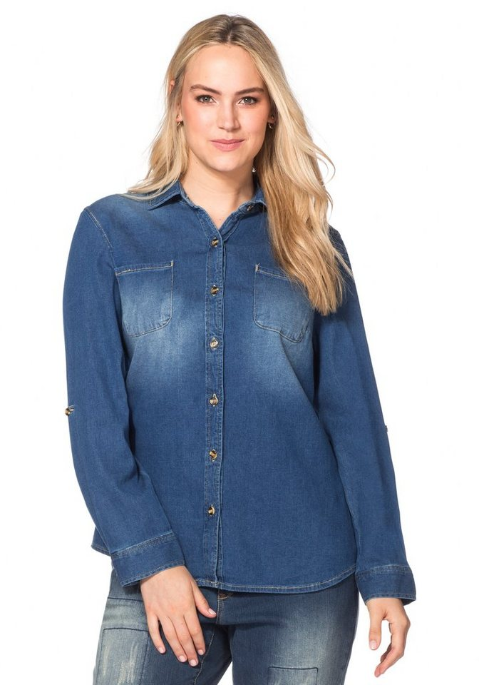 sheego Denim Jeansbluse in blue Denim