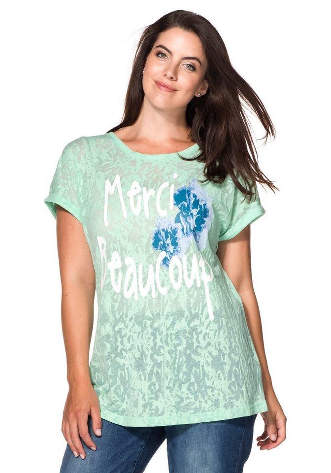 sheego Casual Shirt in Ausbrenner-Qualität in pudergrün