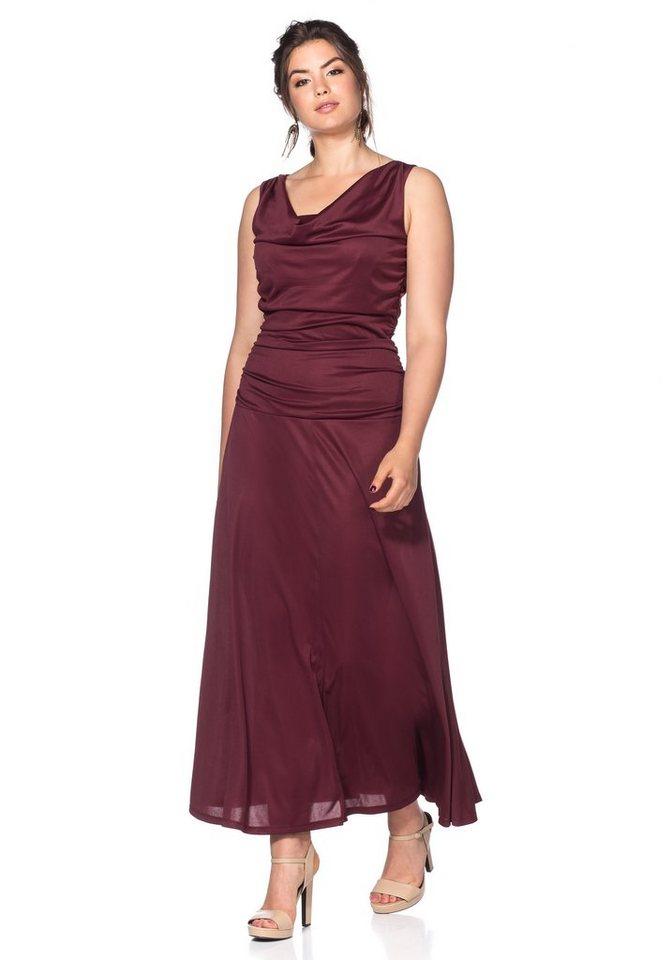 Sheego Style Abendkleid mit Wasserfallkragen in bordeaux