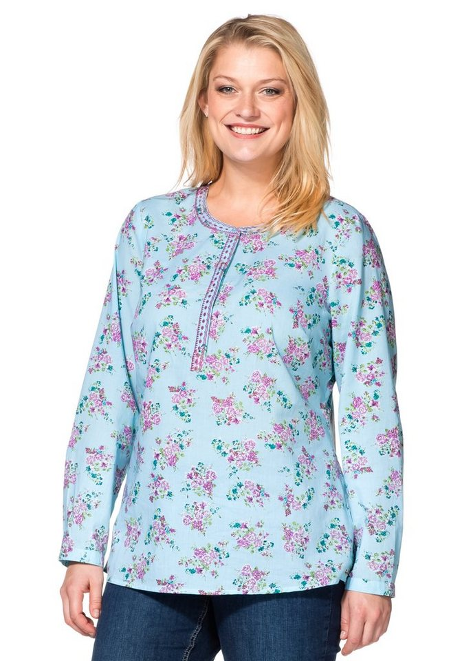 sheego Casual Tunika mit floralem Allover-Druck in pastellblau gemustert