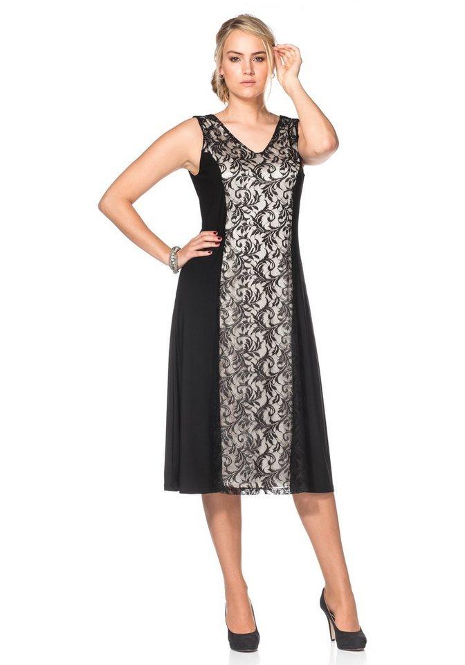 Sheego Style Spitzenkleid in schwarz