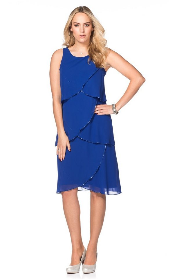 sheego Style Kleid mit Volants in royalblau