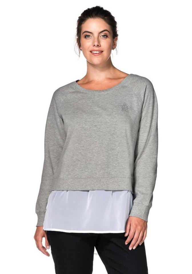 sheego Casual Sweatshirt in 2-in-1-Optik in grau meliert