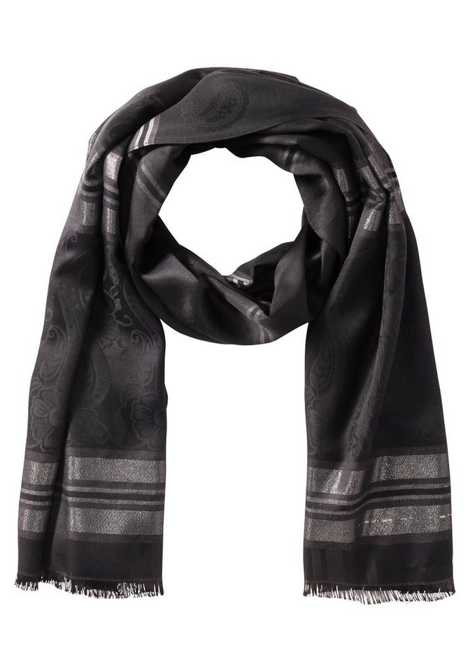 sheego Edler Schal aus reiner Viskose in schwarz