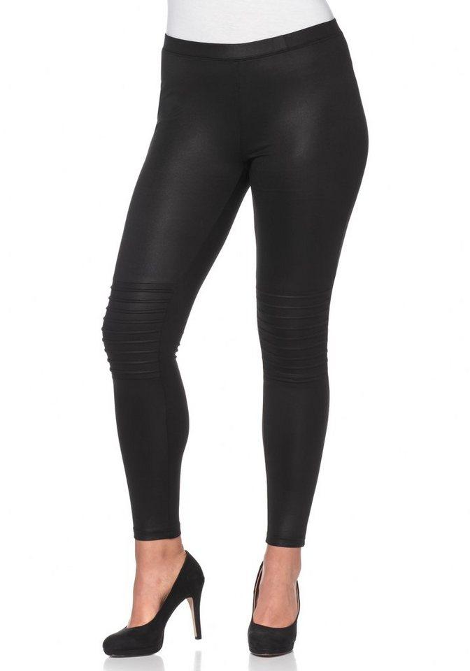 sheego Trend Leggings im Biker-Stil in schwarz