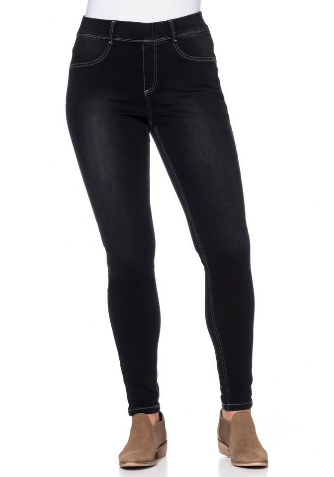 sheego Denim Power-Stretch-Jeggings in black Denim