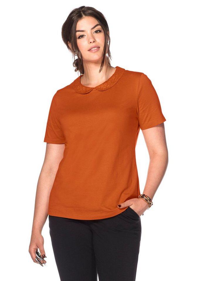 T-Shirt mit Bubikragen in kürbis