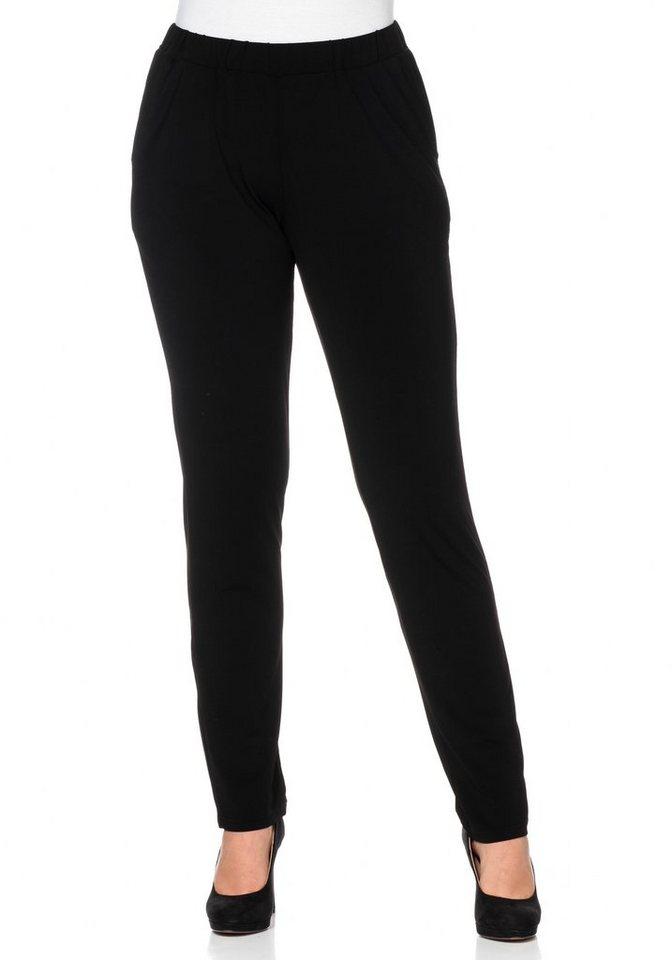sheego Style Schmale Stretch-Schlupfhose in schwarz
