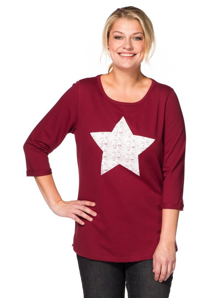 sheego Casual Sweatshirt mit Frontdruck in Spitzenoptik in bordeaux