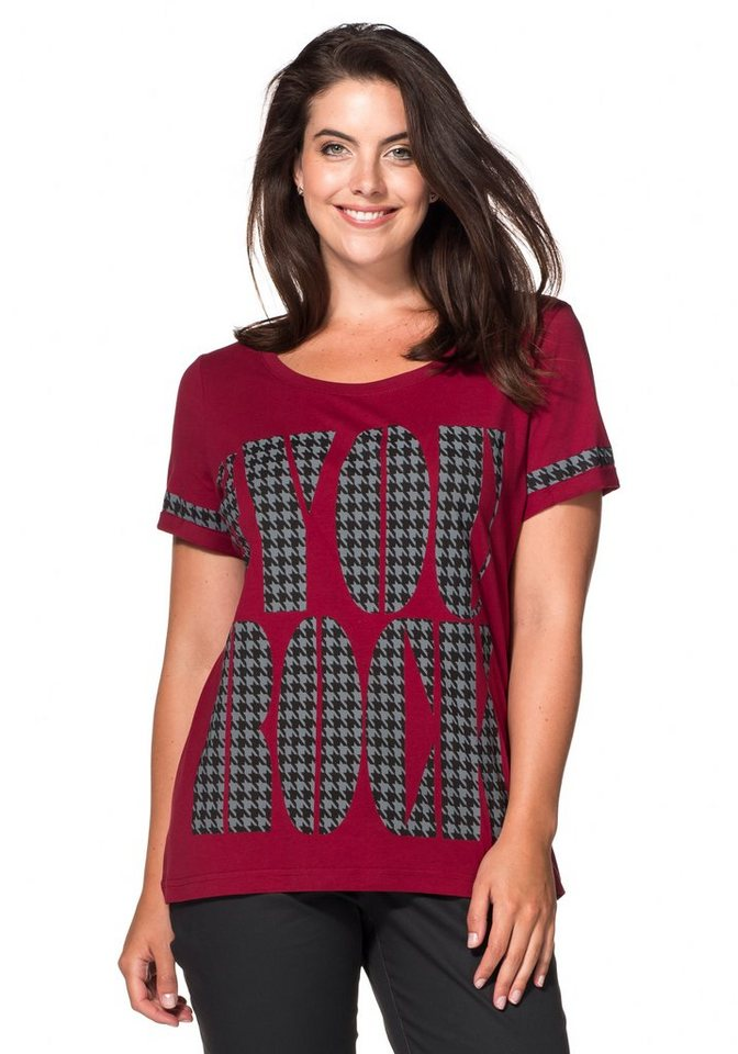 sheego Casual T-Shirt mit Frontdruck in bordeaux