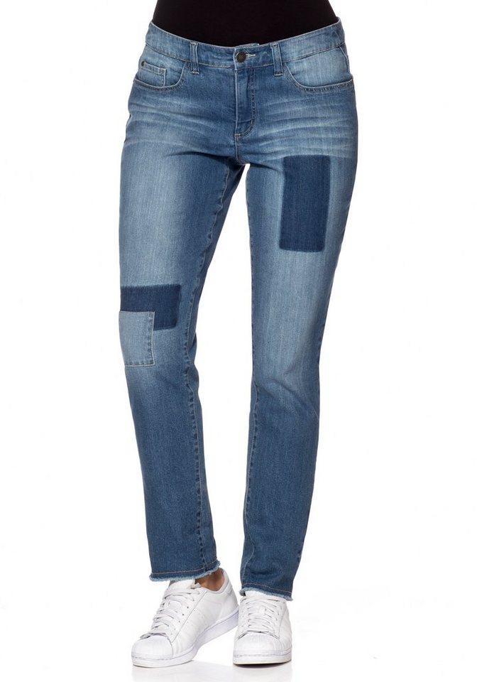 sheego Denim Schmale Stretch-Jeans mit Patches und Fransen in blue Denim