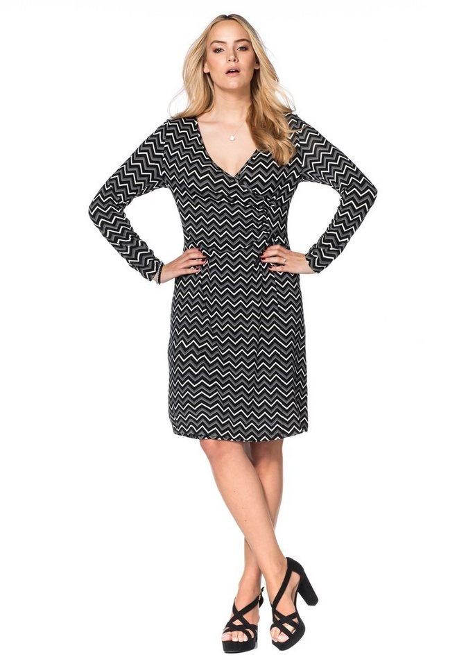 sheego Style Jerseykleid in Wickeloptik in schwarz-weiß