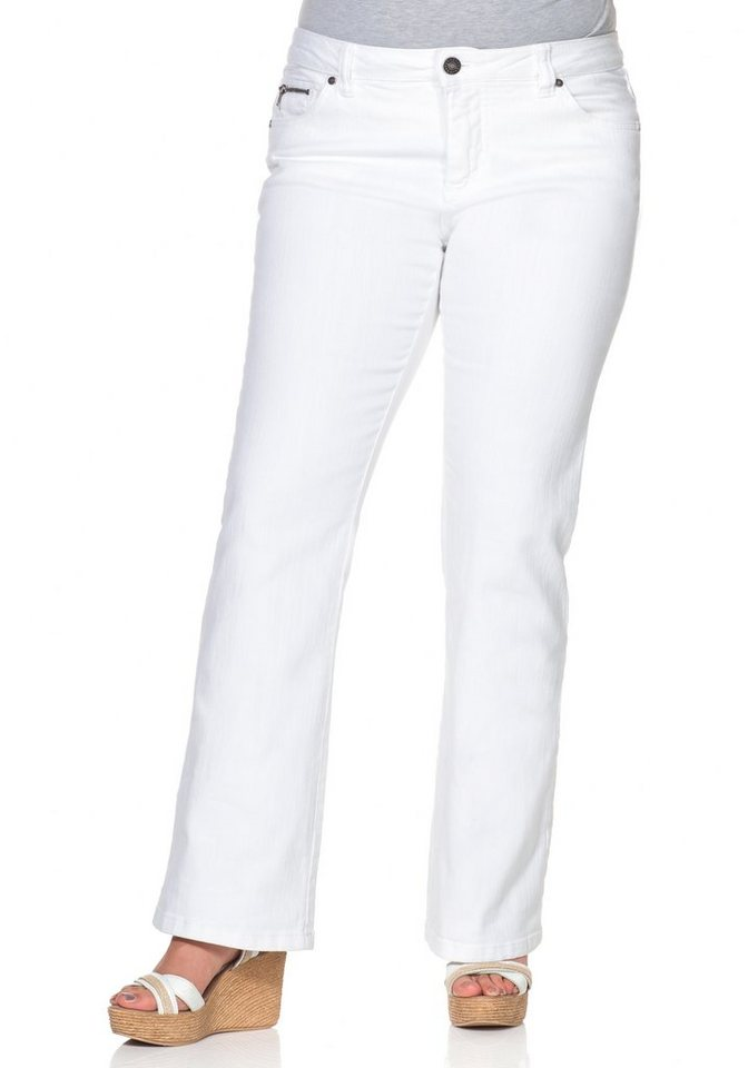 sheego Denim Bootcut-Stretch-Jeans im Used-Look in white Denim