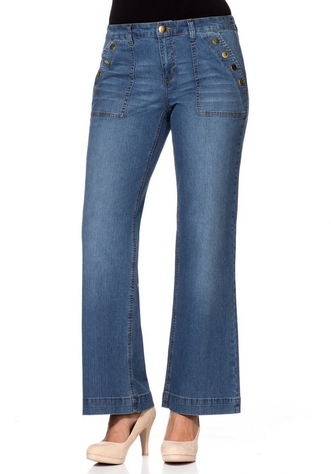 sheego Denim Weite Stretch-Jeans mit Used-Effekten in blue Denim