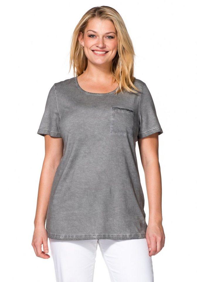 sheego Casual T-Shirt in Oil-washed-Optik in steingrau