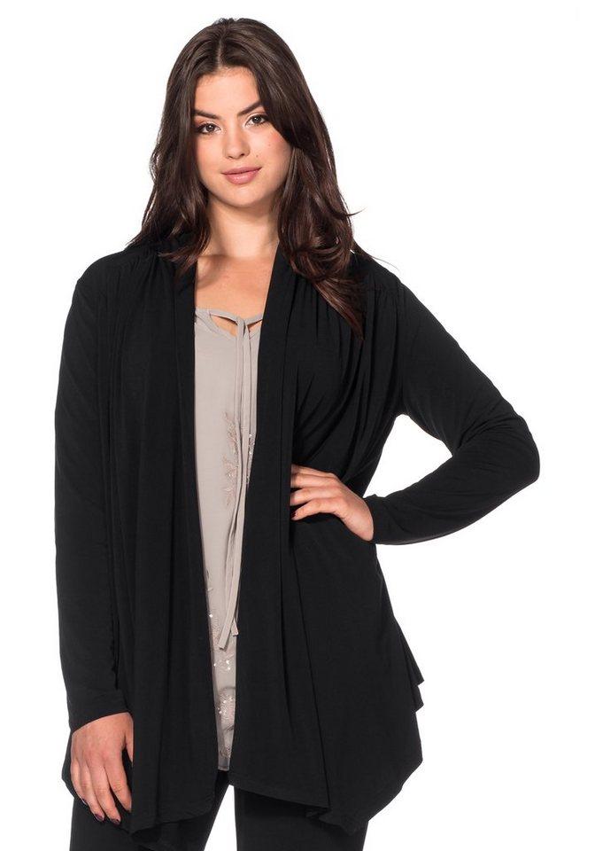 sheego Style Jerseyjacke in Zipfelform in schwarz