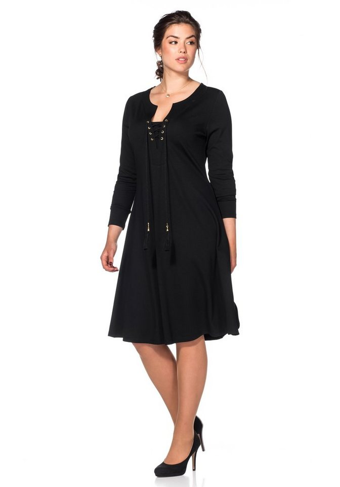 sheego Style Jerseykleid in schwarz