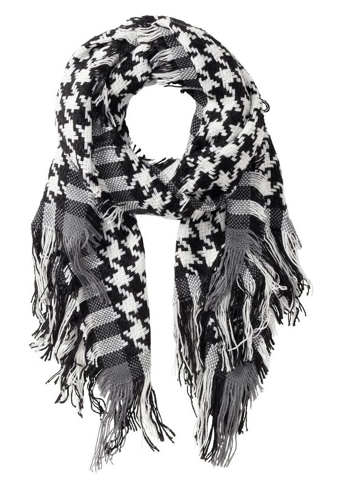 sheego Schal mit Hahnentrittmuster in schwarz-weiß