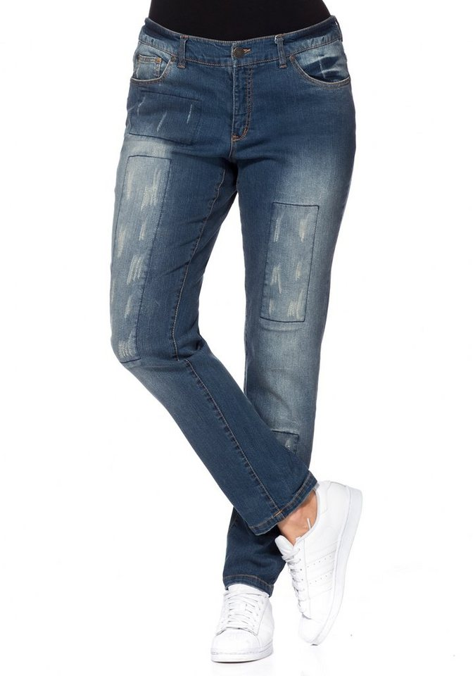 "sheego Denim Schmale Stretch-Jeans ""Kira"" in blue denim"