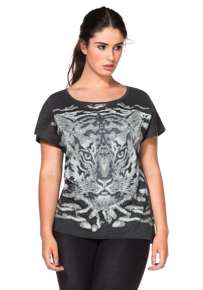 sheego Trend T-Shirt mit aufregendem Tigerdruck in anthrazit bedruckt