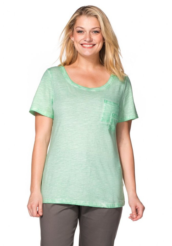 sheego Casual T-Shirt in Oil-washed-Optik in pudergrün