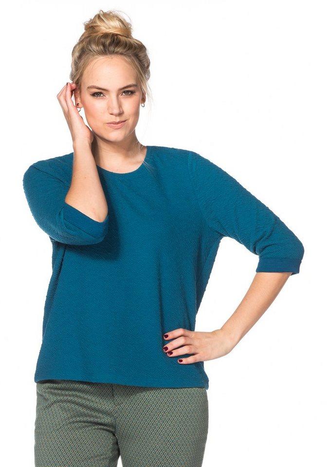 sheego Trend ¾-Armshirt mit Struktur-Effekt in orientblau