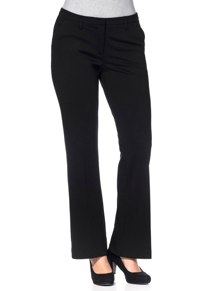 sheego Trend Schlag-Jerseyhose in schwarz