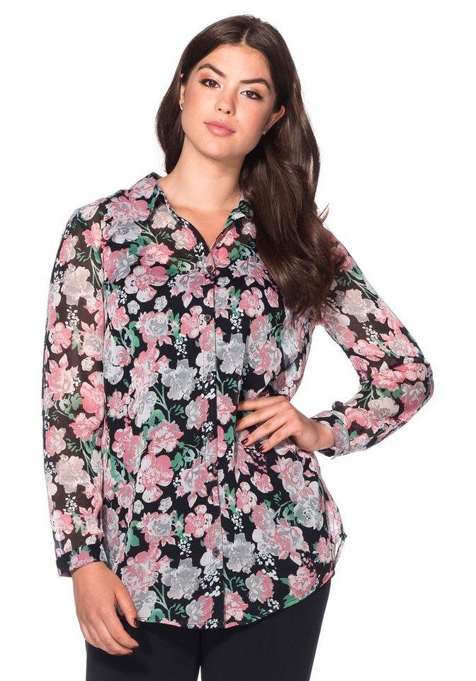 sheego Style Bluse mit Alloverdruck in schwarz-rosé