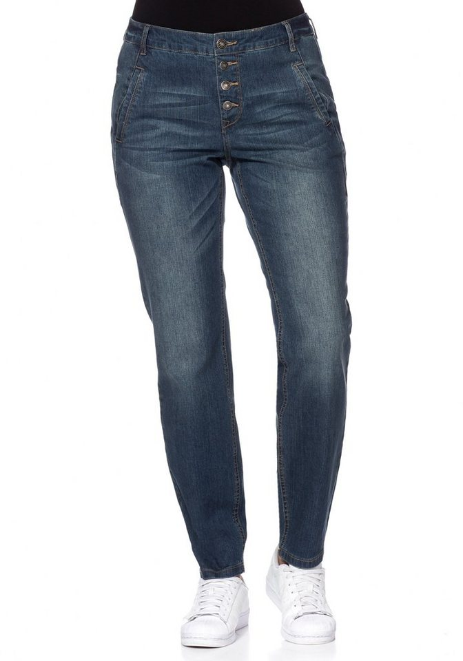 sheego Denim Boyfriend Stretch-Jeans mit Knopfleiste in blue Denim