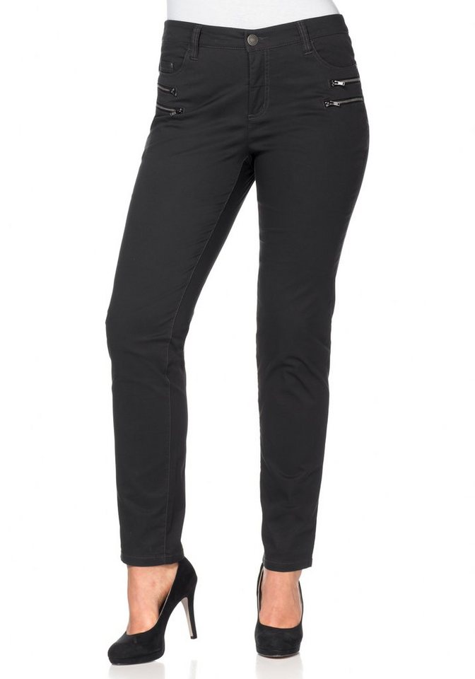 sheego Casual Schmale Stretch-Five-Pocket-Hose in anthrazit