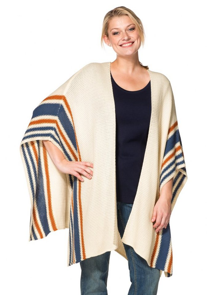 sheego Casual Poncho in leichter Grobstrick-Optik in champagner