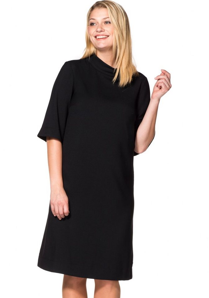 Sheego Class Kleid in leichter A-Form in schwarz